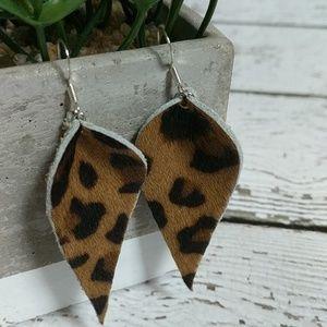 Jewelry - Leopard print leather fur earrings
